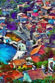 photo paint painting colorful village in a croatian bay in vincent van gogh style by