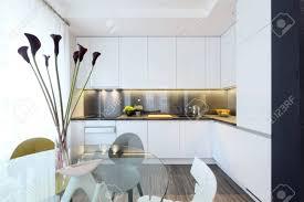 Interior Weiß Moderne Küche Und Ein Glas Esstisch Mit Stühlen