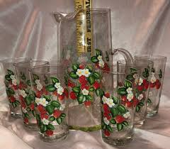 Era Design 10 Vintage Pitcher 6 Glasses Strawberry Design 10 Lg Circa