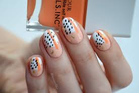 Nail Designs With Jewels Abstract Nail Art Using Nails Inc Kiss My Peach Duo