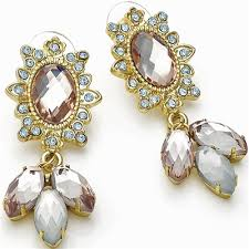chandelier style las eye catching gold plated diamante crystal imitation stone stud earrings costume fashion jewellery