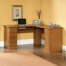 l shaped wooden lacquered computer desk with drawer in varnished for stunning home office