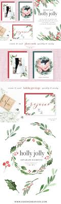 5x7 border template watercolor holly jolly clipart christmas wreath graphics