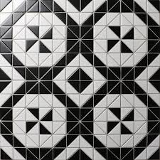 black and white tile floor. Windmill Series 2\u0027\u0027 Matte Black White Triangle Tiles, Porcelain Floor Tiles And Tile