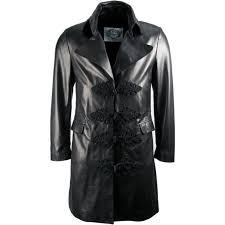 mens luxury military frogg closue black leather coat