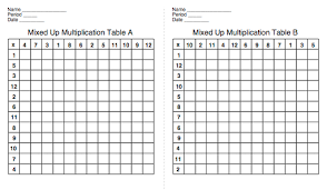 Empty Charts Mr Anker Tests Printable Multiplcation