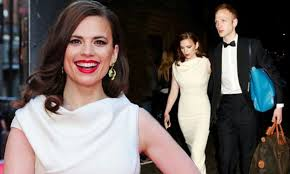 Hayley Atwell stuns as she leaves the Oliviers 2014 with boyfriend Evan  Jones
