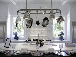 kitchen island lighting. Kitchen Island Lighting Pot Rack Using Stainless Steel Plate Above Decorative Soup Bowls And Oneida Flatware