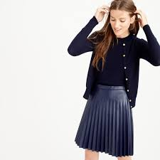 j crew new arrivals cardigan shell pleated leather skirt