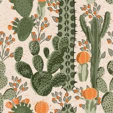 Groen Vector Succulent Cactus En Oranje Bloemen Naadloos Patroon