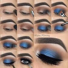 blue and brown smokey eye step by step tutorial