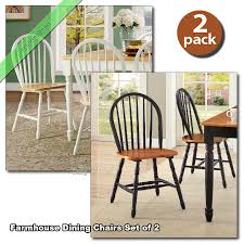 farmhouse dining chairs set of 2 kitchen room wood windsor country black white