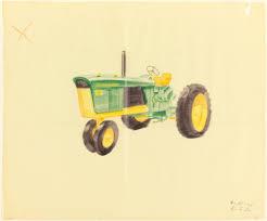 john deere tractor drawing. drawing of john deere tractor viewed from side.