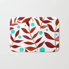 watercolor berries and branches red and turquoise bath mat