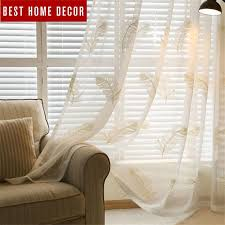 new white blue feather embroidered voile curtains for living room the bedroom sheer curtains tulle window curtains fabric ds