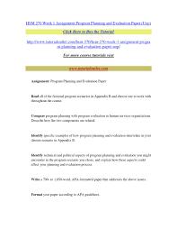 Hsm 270 Week 1 Assignment Program Planning And Eva By Pbpbpbpbpb Issuu