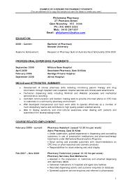 How To Write An Internship Resume Pharmacy Resumes Examples Pharmacy Intern Resume Of Pharmacy