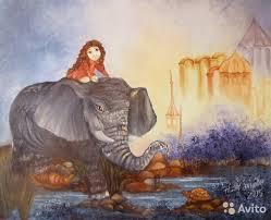 Картина маслом Слон и <b>девочка</b> в стиле <b>фэнтези</b> купить в Санкт ...