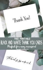 Thank You Black And White Printable Black White Thank You Cards Free Printable Kleinworth Co