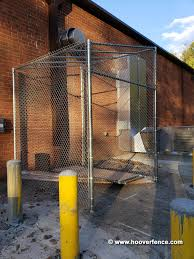 Image Galvanized Outdoor Chain Link Fence Security Cage W Double Gate And Locktop Pvc Slats Hoover Fence Co Hoover Fence Industrial Chain Link Double Gates All 2