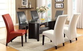 half moon glass dining table. 7pc madison half-moon table glass top dining set + multi color chairs half moon