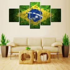 Paintings For Living Room Walls Aliexpresscom Buy 5 Panels Brazil Flag Painting For Living Room