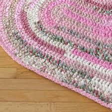 heart shaped hand crocheted rag rug pink cream white and gre