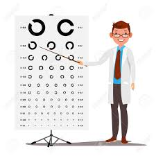 Doctor Chart Male Ophthalmology Vector Doctor And Eye Test Chart In Clinic