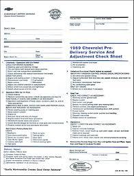 inspection sheet 1969 chevrolet nova parts dc325 1969 chevrolet pre delivery