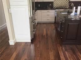kitchen with prefinished walnut wood flooring