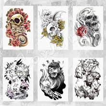 Barevné Dočasné Tetování Lebka S Květinami