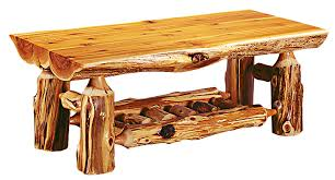 normally the base is made of logs and the top might be a segment log with the level side up as your log coffee table tabletop and the underside as of