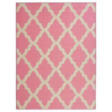 glamour collection contemporary moroccan trellis design pink 5 ft x 7 ft kids area