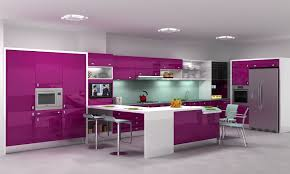 Kitchen:Glossy Modern Purple Kitchen Cabinets Sets With Upper Cabinets Also  White Countertops On Kitchen