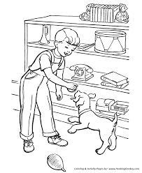 Pet Dog Coloring Pages Boy And Dog Play Ball Coloring Pages And