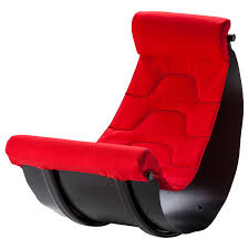 unique red reading chair with half round shape decoration idea