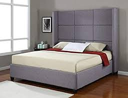 Amazon.com: Jillian Grey Upholstered King-Size Platform Bed Frame ...