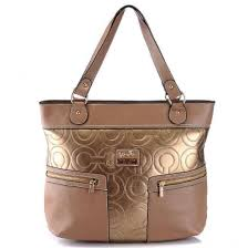 Coach In Printed Signature Large Gold Totes 20666