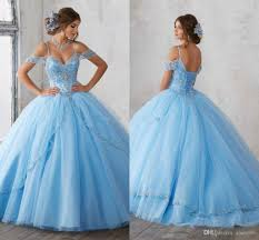 Light Blue Quince Dress 2018 Light Sky Blue Ball Gown Quinceanera Dresses Cap Sleeves Spaghetti Beading Crystal Princess Prom Party Dresses For Sweet 16 Girls Long Dresses