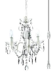 plug in crystal chandelier the original gypsy color 3 light mini for and acrylic swag