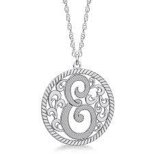 custom single initial monogram pendant necklace sterling silver