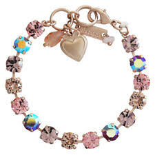 mariana rose gold flamingo pink iridescent swarovski crystal tennis bracelet
