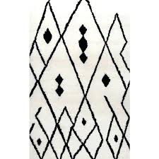 black and white moroccan runner rug ivory com bi 1