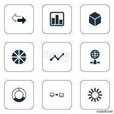 Pie Chart Synonym Vector Illustration Set Of Simple Business Icons Elements