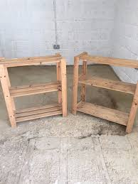 two wooden shelving units great for storage in sheds greenhouse home