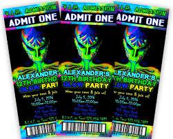 Party Ticket Invitations Inspiration Neon Glow Birthday Boys Ticket Invitations Party Print Express