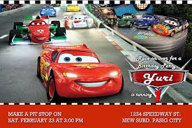 moms kiddie party link disney cars party invitation sample