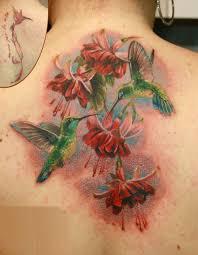 фото тату два колибри у красных цветов татуировки и эскизы колибри