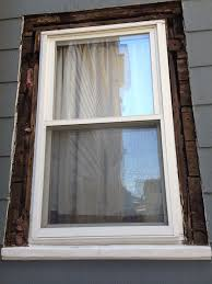 here s how the window looked without any trim note the boards as sheathing