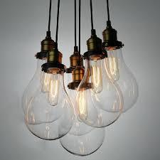 edison 6 light led pendant light in bronze